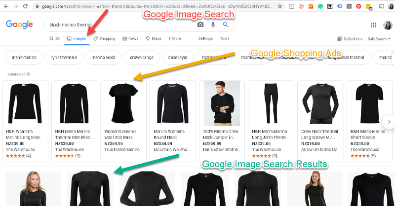 Google image search reuslts