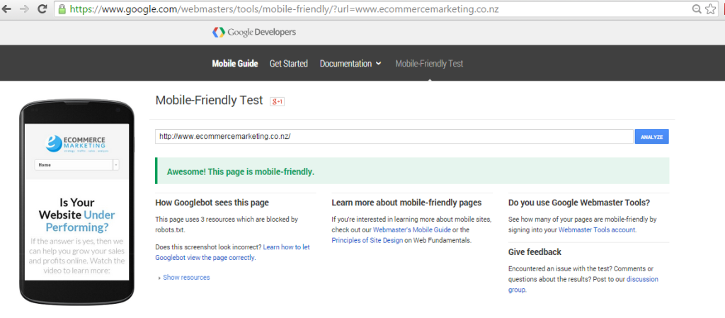 Test the Mobile Accessibility of your website